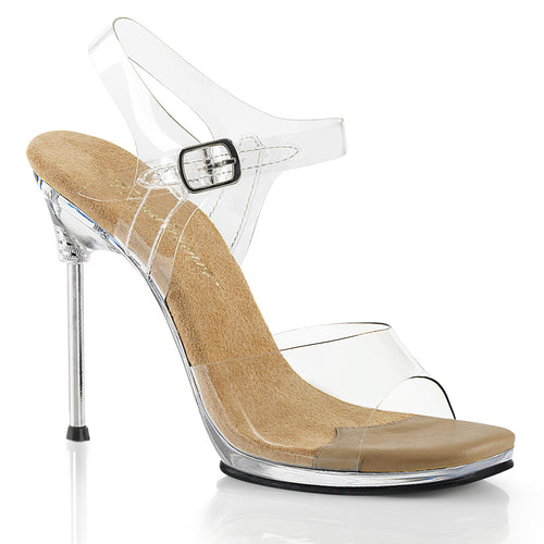 CHIC-08 Fabulicious 4.5 Inch Heel Clear and Tan Posing Shoes