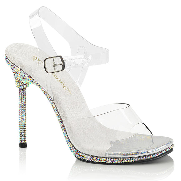 CHIC-08DM Fabulicious Sexy Shoes 4 1/2 Inch Stiletto Heel Rhinestone Bling Mini-Platform Ankle Strap Shoes