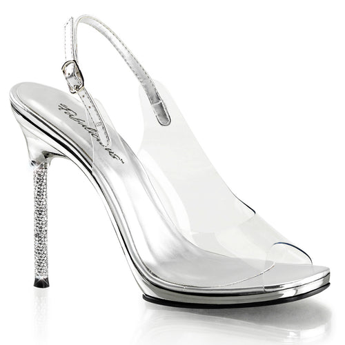 CHIC-18 Fabulicious Peep Toe Slingback Stiletto Shoes Pumps-Shoes-Fabulicious-Footwear Fetish-Clear-Silver Pu/Silver Chrome-Miss Hollywood Sexy Shoes