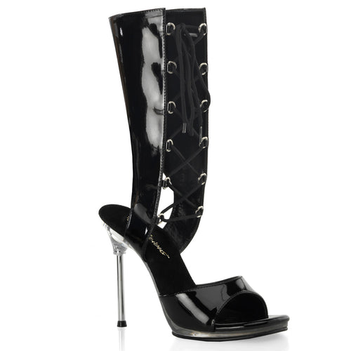 CHIC-65 Fabulicious 4.5 Inch Heel Black and Clear Sexy Shoes