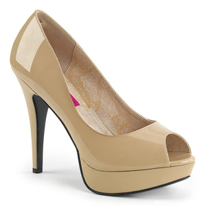"CHLOE-01 Pink Label 5"" Heel Cream Patent Platform Shoes"