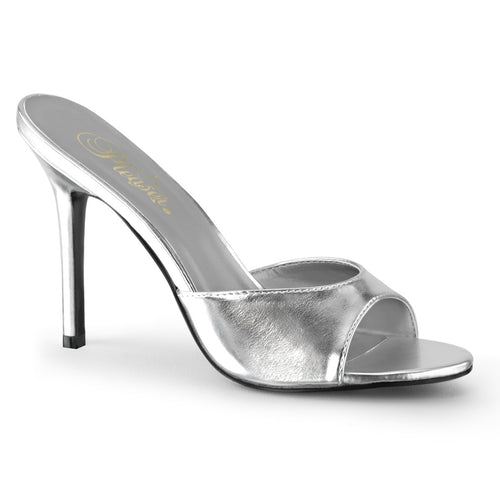 CLASSIQUE-01 Pleaser 4 Inch Heel Silver Fetish Footwear-Pleaser- Sexy Shoes
