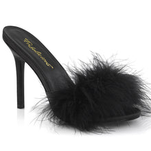 "Load image into Gallery viewer, CLASSIQUE-01F Fetish 4"" Heels Black Marabou Bedroom Shoes"