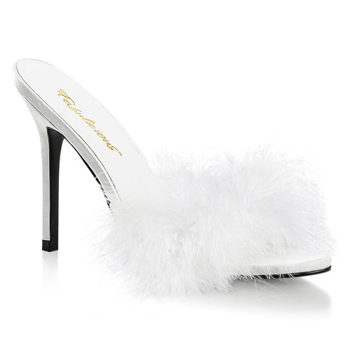 CLASSIQUE-01F Fetish Heel White Faux Fur Bedroom Sexy Shoes