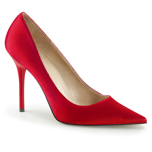CLASSIQUE-20 Pleaser 4 Inch Heel Red Satin Fetish Footwear