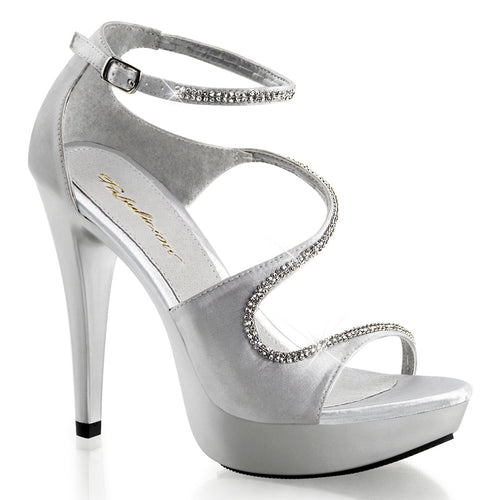 COCKTAIL-526 Fabulicious 5 Inch Heel Silver Satin Sexy Shoes