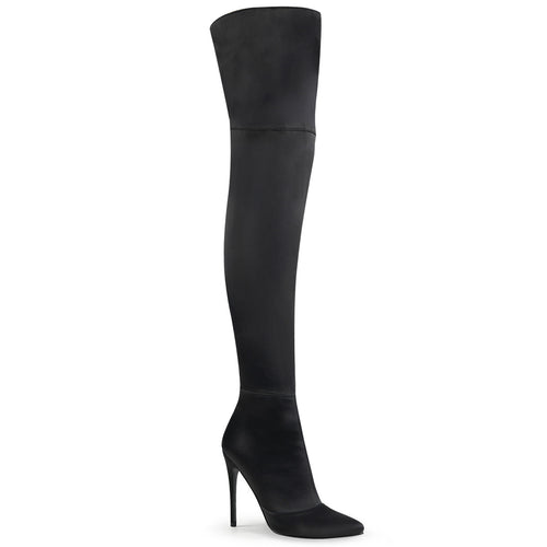 COURTLY-3012 5 Inch Heel Black Stretch Satin Fetish Footwear