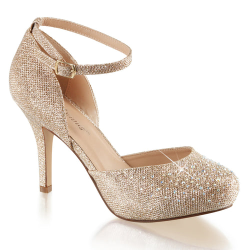 COVET-03 Fetish Nude Glitter Mesh Fabric Sexy Shoes Heels