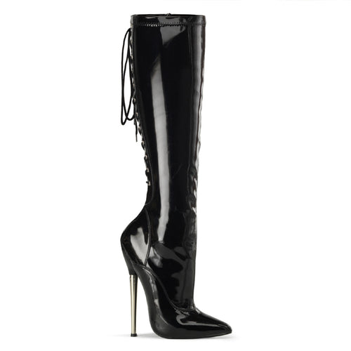 DAGGER-2064 Devious 6 Inch Heel Black Patent Kinky Boots-Devious- Sexy Shoes