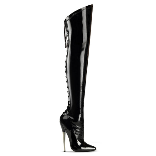 DAGGER-3060 Devious 6 1/4 Inch Solid Brass Heel Thigh High Length Boots-Single Soles-Devious-7 uk (40 Europe - 10 Usa)-Black Stretch Patent-Miss Hollywood Sexy Shoes