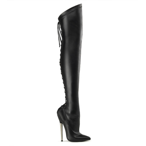 DAGGER-3060 Black Faux Leather 6 1/4 Inch Brass Heel Back Lace-Up Thigh High Boots-Single Soles-Devious-Heels for men-Miss Hollywood Sexy Shoes
