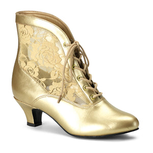 DAME-05 Funtasma Sexy Shoes 2 Inch Heel, Gold Pu-Lace Victorian Ankle Boots, Pioneer, Lace-Women's Boots-Funtasma-7 uk (40 Europe - 10 Usa)-Gold Pu-Lace-Miss Hollywood Sexy Shoes