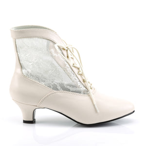 DAME-05 Funtasma Sexy Shoes 2 Inch Heel, Ivory Pu-Lace Victorian / Pioneer, Lace Ankle Boots