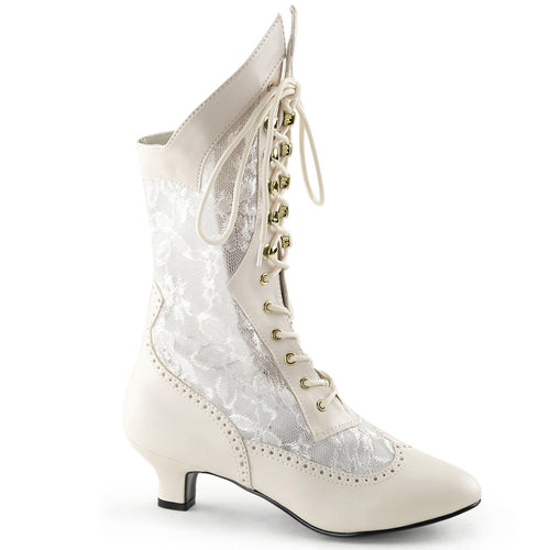 DAME-115 Funtasma Sexy Shoes 2 Inch Heel, Ivory Pu-Lace Victorian Ankle Boots, Lace, Pioneer-Women's Boots-Funtasma-7 uk (40 Europe - 10 Usa)-Ivory Pu-Lace-Miss Hollywood Sexy Shoes