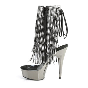 Sexy DELIGHT-1017RSF Pleaser Sexy 6 Inch Heel Boots, Chrome Platforms Open Toe Back, Fringed Ankle Boots  Pleaser - Miss Hollywood - Sexy Shoes