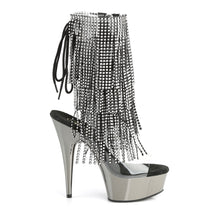 Load image into Gallery viewer, Sexy DELIGHT-1017RSF Pleaser Sexy 6 Inch Heel Boots, Chrome Platforms Open Toe Back, Fringed Ankle Boots  Pleaser - Miss Hollywood - Sexy Shoes