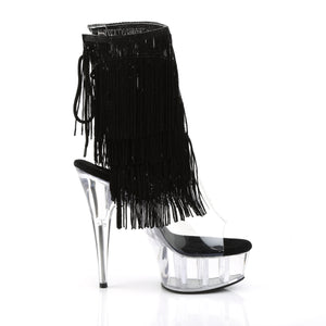 Sexy DELIGHT-1017TF Pleaser Sexy Boots 6 Inch Heel Clear Platforms Fringed Ankle Boots  Pleaser - Miss Hollywood - Sexy Shoes