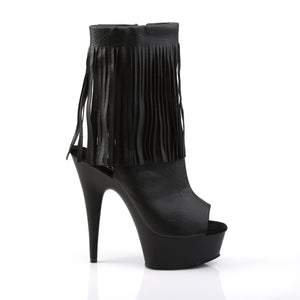 Sexy DELIGHT-1019 Pleaser 6 Inch Heel Ankle Boots Platforms Open Toe/Back, Fringed Ankle Boots  Pleaser - Miss Hollywood - Sexy Shoes