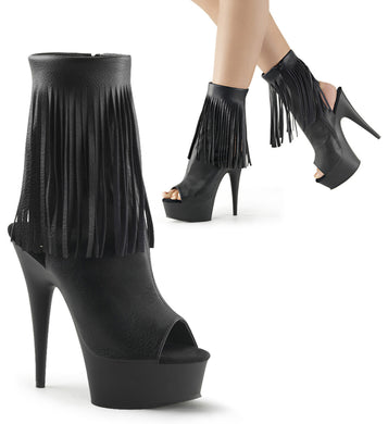 DELIGHT-1019 Pleaser Sexy Shoes 6 Inch Heel, 1 3/4 Inch Platforms Open Toe/Back, Fringed Ankle Boots - Sexy Shoes