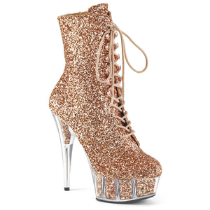 DELIGHT-1020G Pleaser Sexy Boots 6 Inch Lace-Up Platforms Glitter Ankle Boots, Side Zip
