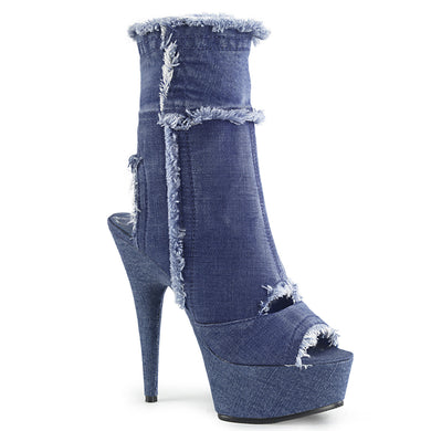 DELIGHT-1030 Sexy Peep Toe Denim Ankle Boots Platform Shoes Lace Up