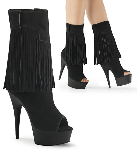 DELIGHT-1057 Sexy Peep Toe Calf Fringed Boots Platform Shoes - Miss Hollywood