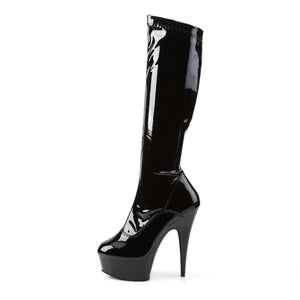 Sexy DELIGHT-2000 Pleaser 6 Inch Stretch Platforms Knee High Length Boots, Side Zip  Pleaser - Miss Hollywood - Sexy Shoes