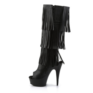 Sexy DELIGHT-2019-3 Pleaser Black Sexy 6 Inch Heel Open Toe/Back Fringed Knee High Boots  Pleaser - Miss Hollywood - Sexy Shoes
