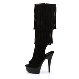 Sexy DELIGHT-2019 Pleaser Sexy 6 Inch Heel Open Toe/Back Fringed Knee High Boots  Pleaser - Miss Hollywood - Sexy Shoes