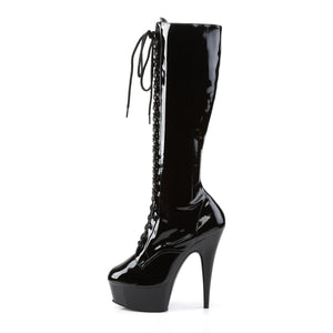 Sexy DELIGHT-2023 Pleaser Knee High Boots 6 Inch Lace-Up Stretch Platforms.  Pleaser - Miss Hollywood - Sexy Shoes
