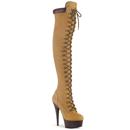 DELIGHT-3000TL 6 Inch Heel Tan Nubuck Pole Dancing Platforms