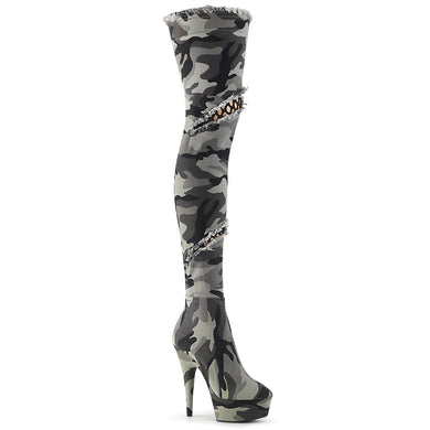DELIGHT-3005 Pleaser Sexy Shoes 6 Inch Heel Platforms Thigh High Fishnet Detail Length Boots