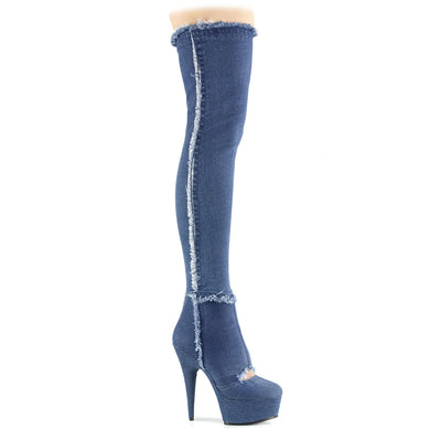 DELIGHT-3007 Pleaser Sexy Shoes 6 Inch Heel Platforms Thigh High Denim Length Boots