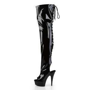 "DELIGHT-3017 6"" Heel Black Stretch Patent Pole Dancer Boots"