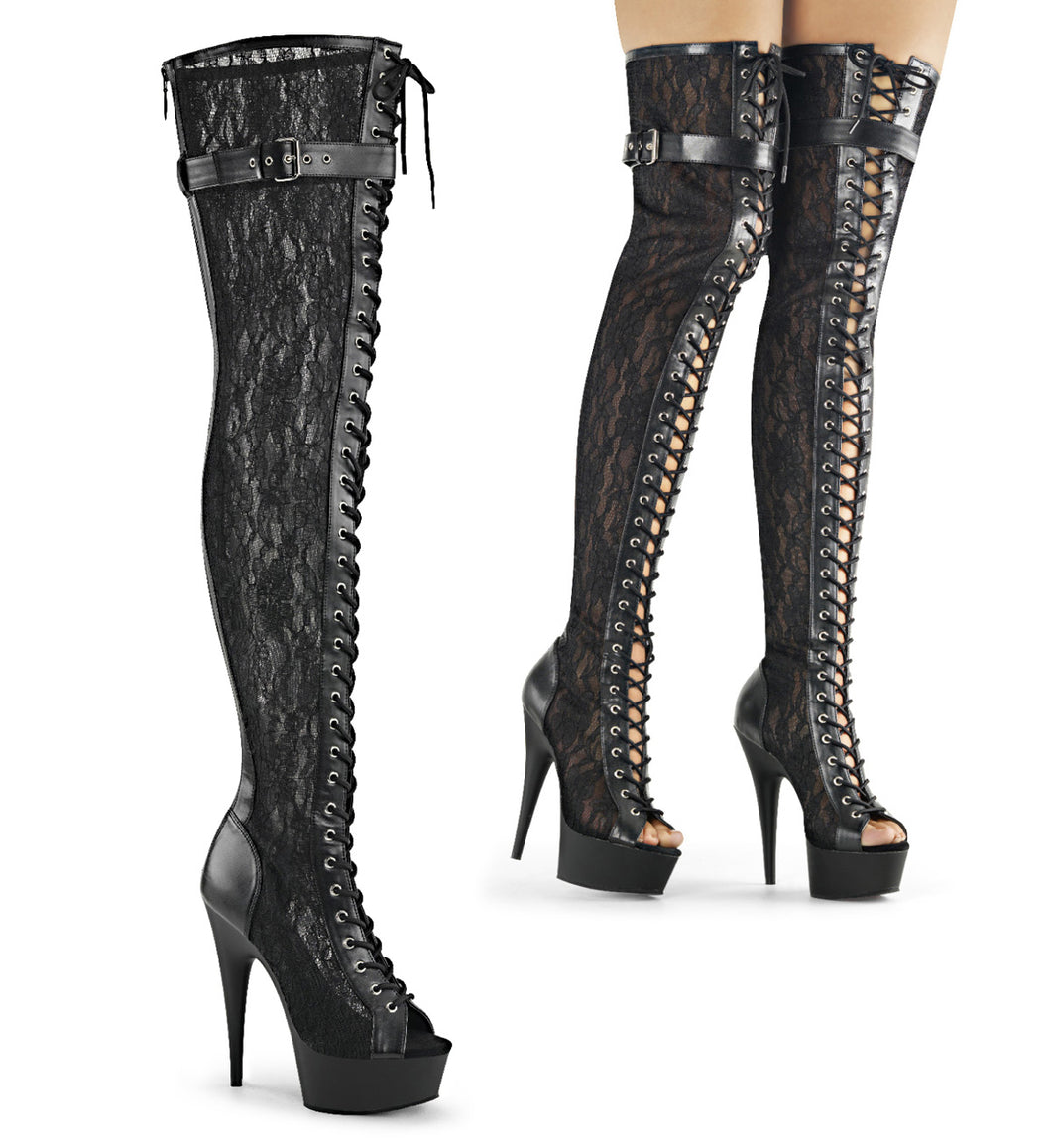 DELIGHT-3025ML Pleaser Sexy Shoes 6 Inch Lace-Up Stretch Platforms Lace Thigh High Boots