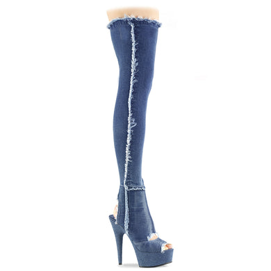 DELIGHT-3030 Pleaser Sexy Shoes 6 Inch Lace-Up Stretch Platforms Denim Thigh High Boots