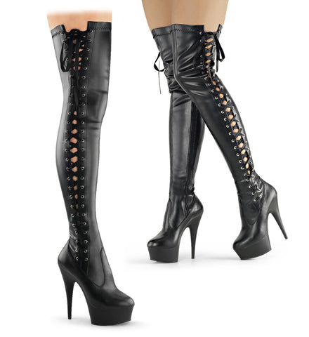 DELIGHT-3050 Pleaser Sexy Shoes 6 Inch Platforms Thigh High Length Boots - Miss Hollywood - 1