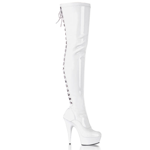 DELIGHT-3063 6 Inch Heel White Patent Pole Dancing Platforms