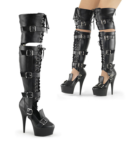 DELIGHT-3068 Sexy Bondage Knee High Boots Platform Shoes with Buckles-Pleaser-Miss Hollywood Sexy Shoes