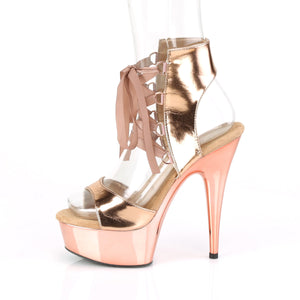 "DELIGHT-600-14 6"" Rose Gold Metallic Pole Dancer Platforms-Pleaser- Sexy Shoes Pole Dance Heels"