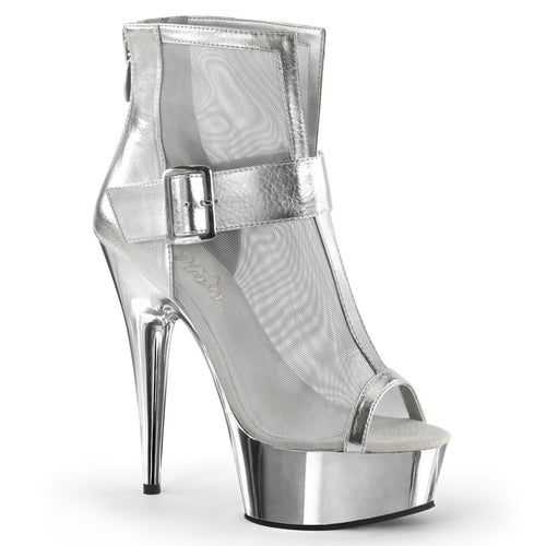 DELIGHT-600-23 Sexy Close Back Strappy Sandal Mesh Chrome Sale Ankle Boots