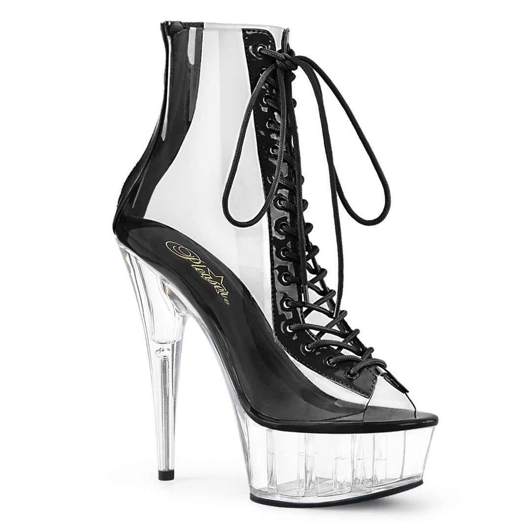 DELIGHT-600-34 Pleaser Sexy Shoes 6 Inch Heel, Open Toe/Back Front Lace Up Ankle Bootsie Pleaser