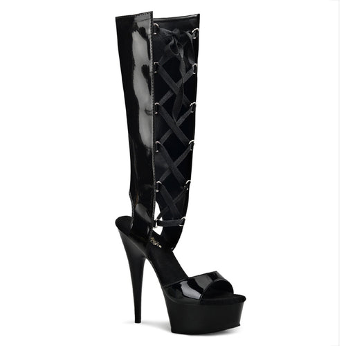 DELIGHT-600-40 Fetish Style Mid-Calf Front Lace-Up Sandals-Pleaser-Miss Hollywood Sexy Shoes