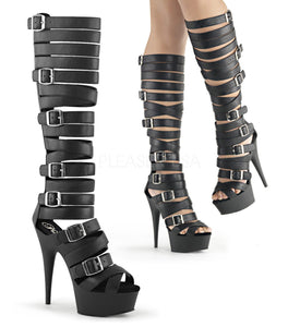 DELIGHT-600-41 Sexy Peep Toe Knee High Strappy Platform Sandal Boots - Miss Hollywood