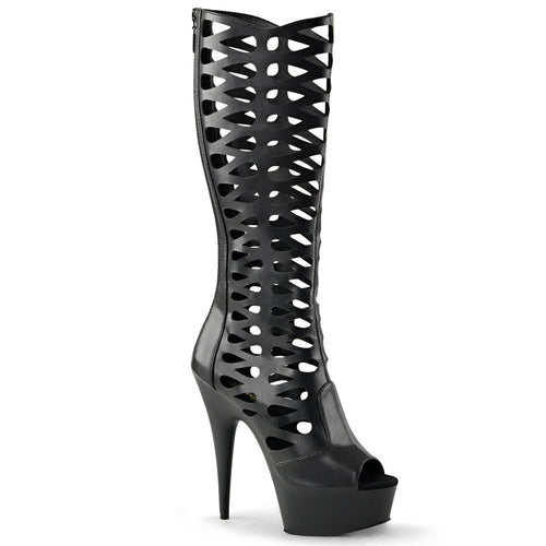 DELIGHT-600-42 Sexy Peep Toe Knee High Caged Platform Sandal Boots-Pleaser-Miss Hollywood Sexy Shoes