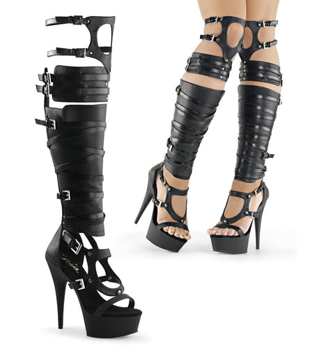 DELIGHT-600-50 Sexy Peep Toe Knee High Sandal Gladiators Boots-Pleaser-Miss Hollywood Sexy Shoes
