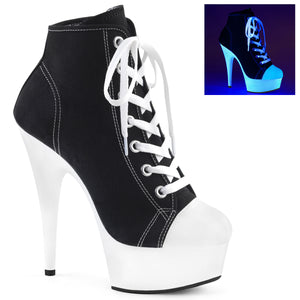 "DELIGHT-600SK-02 Pleaser 6"" Heel Black Pole Dancer Platforms"