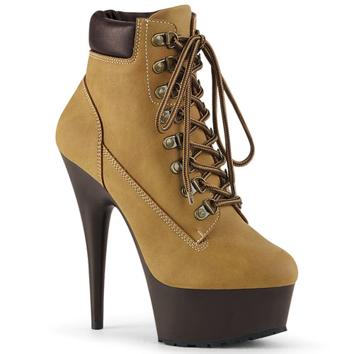 DELIGHT-600TL-02 Sexy Pleaser Lace Up Front Ankle Boots