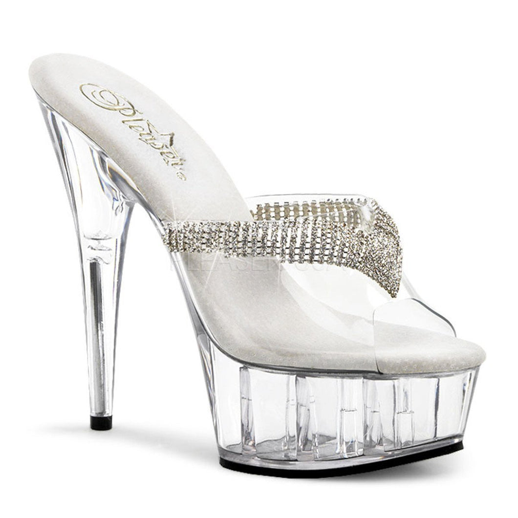 DELIGHT-601-5 Pleaser Sexy Shoes 6 Inch Heel Slip on Shoes with Rhinestones-Platforms (Exotic Dancing)-Pleaser-7 uk (40 Europe - 10 Usa)-Clear/ Clear-Miss Hollywood Sexy Shoes