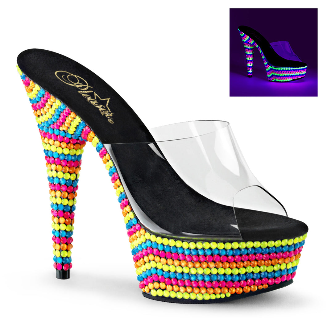 DELIGHT-601RBS Sexy Pleaser Shoes High Heels UV Beads - Miss Hollywood